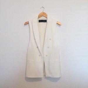 [Zara] Tuxedo Blazer Vest White
